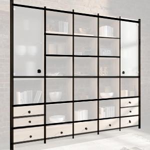 Wohnzimmer Pfosten-Riegel-Verbau, Regal