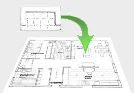 einrichtungsplaner handgezeichneter wohnraumplaner einrichtung und m bel. Black Bedroom Furniture Sets. Home Design Ideas