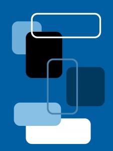 Gerundete Rechtecke - Teppich blau