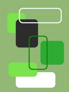 Gerundete Rechtecke - Teppich grün