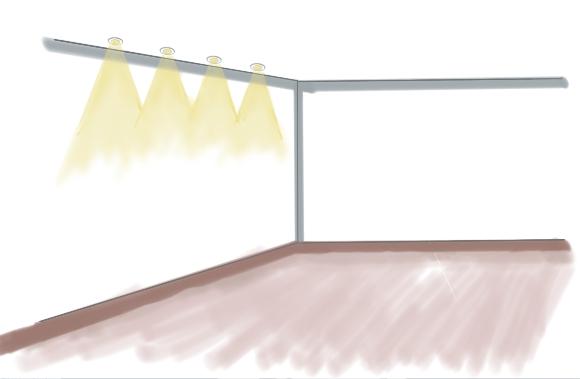 Streiflicht - Wand von Decke